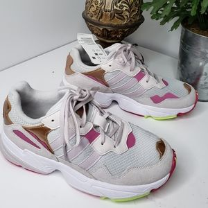Adidas Jung 96 Pink/Gold Lace Up Athletic Shoe 4.5